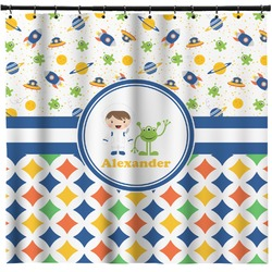 Boy's Space & Geometric Print Shower Curtain (Personalized)