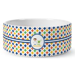 Boy's Astronaut Ceramic Dog Bowl (Personalized)