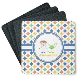 Boy's Astronaut 4 Square Coasters - Rubber Backed (Personalized)