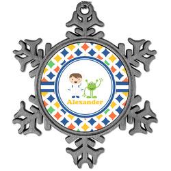 Boy's Astronaut Vintage Snowflake Ornament (Personalized)