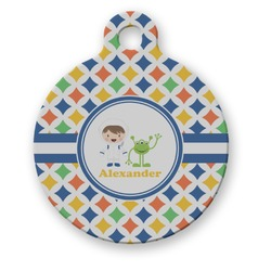 Boy's Astronaut Round Pet Tag (Personalized)