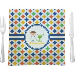 """Boy's Astronaut Glass Square Lunch / Dinner Plate 9.5"""" - Single or Set of 4 (Personalized)"""