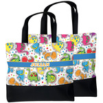 Dinosaur Print Beach Tote Bag (Personalized)