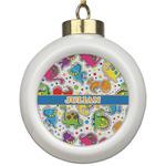 Dinosaur Print Ceramic Ball Ornament (Personalized)