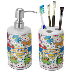 Dinosaur Print Bathroom Accessories Set (Ceramic) (Personalized)