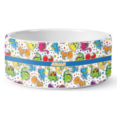 Dinosaur Print Ceramic Dog Bowl (Personalized)