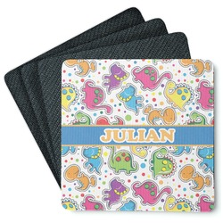 Dinosaur Print 4 Square Coasters - Rubber Backed (Personalized)