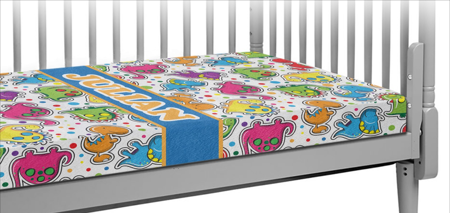 Dinosaur Print Crib Fitted Sheet Personalized