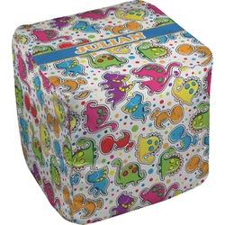 "Dinosaur Print Cube Pouf Ottoman - 18"" (Personalized)"