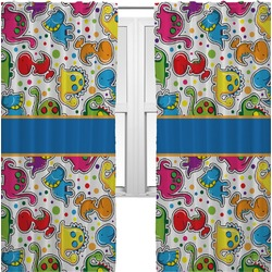 Dinosaur Print Curtains (2 Panels Per Set) (Personalized)