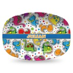 Dinosaur Print Plastic Platter - Microwave & Oven Safe Composite Polymer (Personalized)