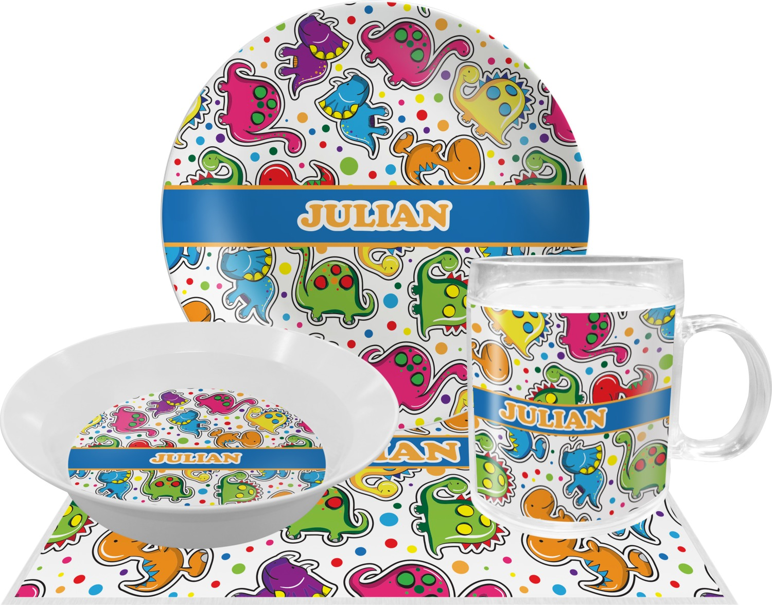 Dinosaur Print Dinner Set - 4 Pc (Personalized)  sc 1 st  Potty Training Concepts : dinosaur dinnerware - pezcame.com