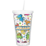 Dinosaur Print Double Wall Tumbler with Straw (Personalized)