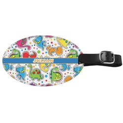 Dinosaur Print Genuine Leather Oval Luggage Tag (Personalized)