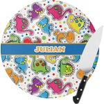 Dinosaur Print Round Glass Cutting Board (Personalized)