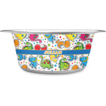 Dinosaur Print Stainless Steel Dog Bowl (Personalized)
