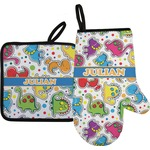 Dinosaur Print Oven Mitt & Pot Holder (Personalized)