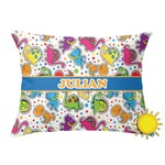 Dinosaur Print Outdoor Throw Pillow (Rectangular) (Personalized)