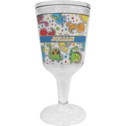 Dinosaur Print Wine Tumbler - 11 oz Plastic (Personalized)