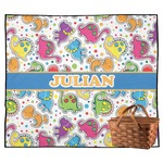 Dinosaur Print Outdoor Picnic Blanket (Personalized)