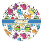 Dinosaur Print Round Decal - Custom Size (Personalized)