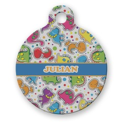 Dinosaur Print Round Pet Tag (Personalized)