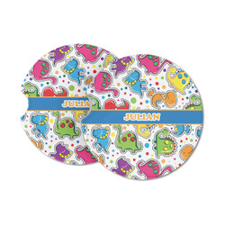 Dinosaur Print Sandstone Car Coasters (Personalized)