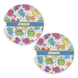 Dinosaur Print Sandstone Car Coasters - Set of 2 (Personalized)