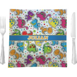 "Dinosaur Print Glass Square Lunch / Dinner Plate 9.5"" - Single or Set of 4 (Personalized)"