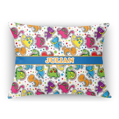 Dinosaur Print Rectangular Throw Pillow Case (Personalized)
