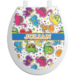 Dinosaur Print Toilet Seat Decal - Round (Personalized)