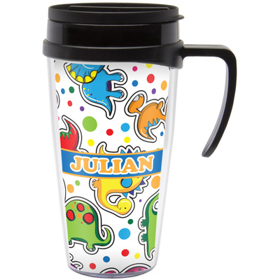 Dinosaur Print Travel Mug with Handle (Personalized)