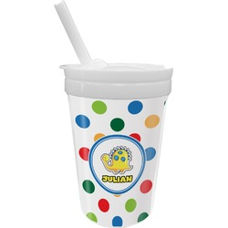 Dots & Dinosaur Sippy Cup with Straw (Personalized)
