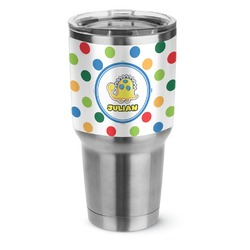 Dots & Dinosaur Stainless Steel Tumbler - 30 oz (Personalized)