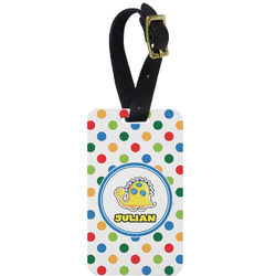 Dots & Dinosaur Aluminum Luggage Tag (Personalized)