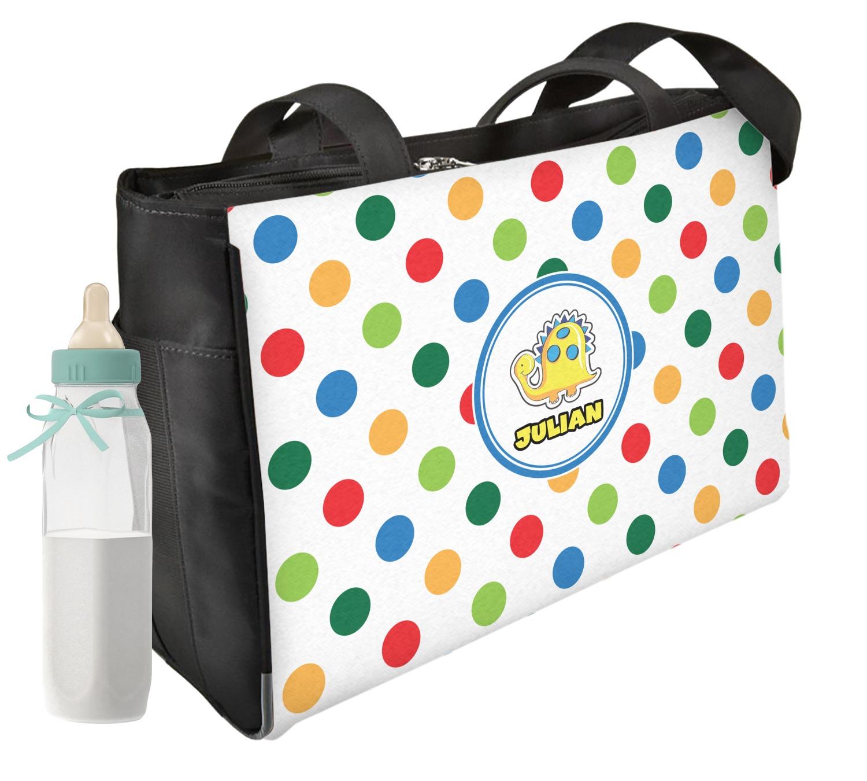 Dots Dinosaur Diaper Bag Personalized