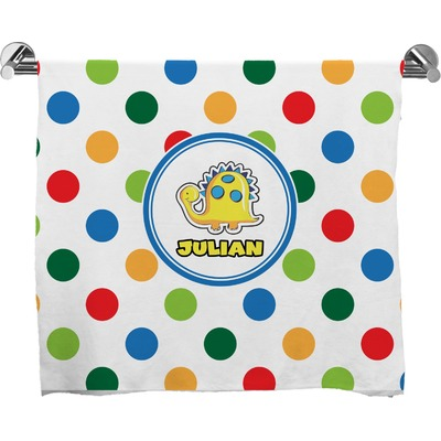 Dots & Dinosaur Bath Towel (Personalized)