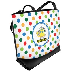 Dots & Dinosaur Beach Tote Bag (Personalized)
