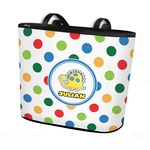 Dots & Dinosaur Bucket Tote w/ Genuine Leather Trim (Personalized)