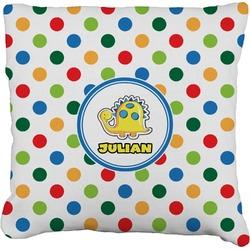 "Dots & Dinosaur Faux-Linen Throw Pillow 26"" (Personalized)"