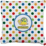 Dots & Dinosaur Faux-Linen Throw Pillow (Personalized)