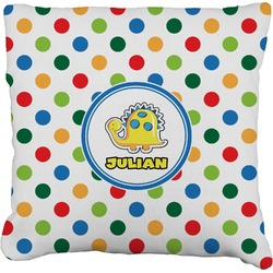 Dots & Dinosaur Faux-Linen Throw Pillow (Personalized)