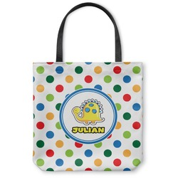 Dots & Dinosaur Canvas Tote Bag (Personalized)