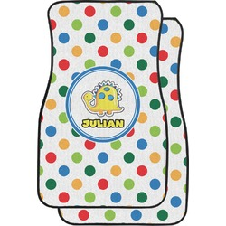 Dots & Dinosaur Car Floor Mats (Front Seat) (Personalized)