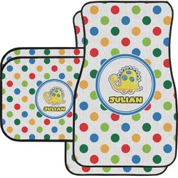 Dots & Dinosaur Car Floor Mats Set - 2 Front & 2 Back (Personalized)