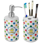 Dots & Dinosaur Bathroom Accessories Set (Ceramic) (Personalized)