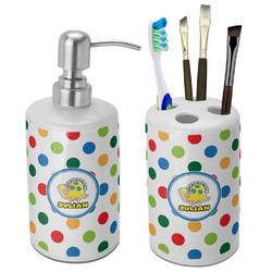 Dots & Dinosaur Ceramic Bathroom Accessories Set (Personalized)