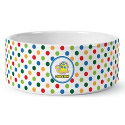 Dots & Dinosaur Ceramic Dog Bowl (Personalized)