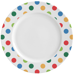 Dots & Dinosaur Ceramic Dinner Plates (Set of 4) (Personalized)