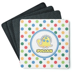Dots & Dinosaur 4 Square Coasters - Rubber Backed (Personalized)